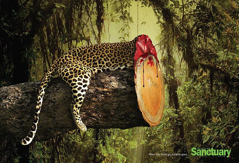 Impactante anuncios impresos muestran cómo la destrucción del hábitat afecta a la fauna