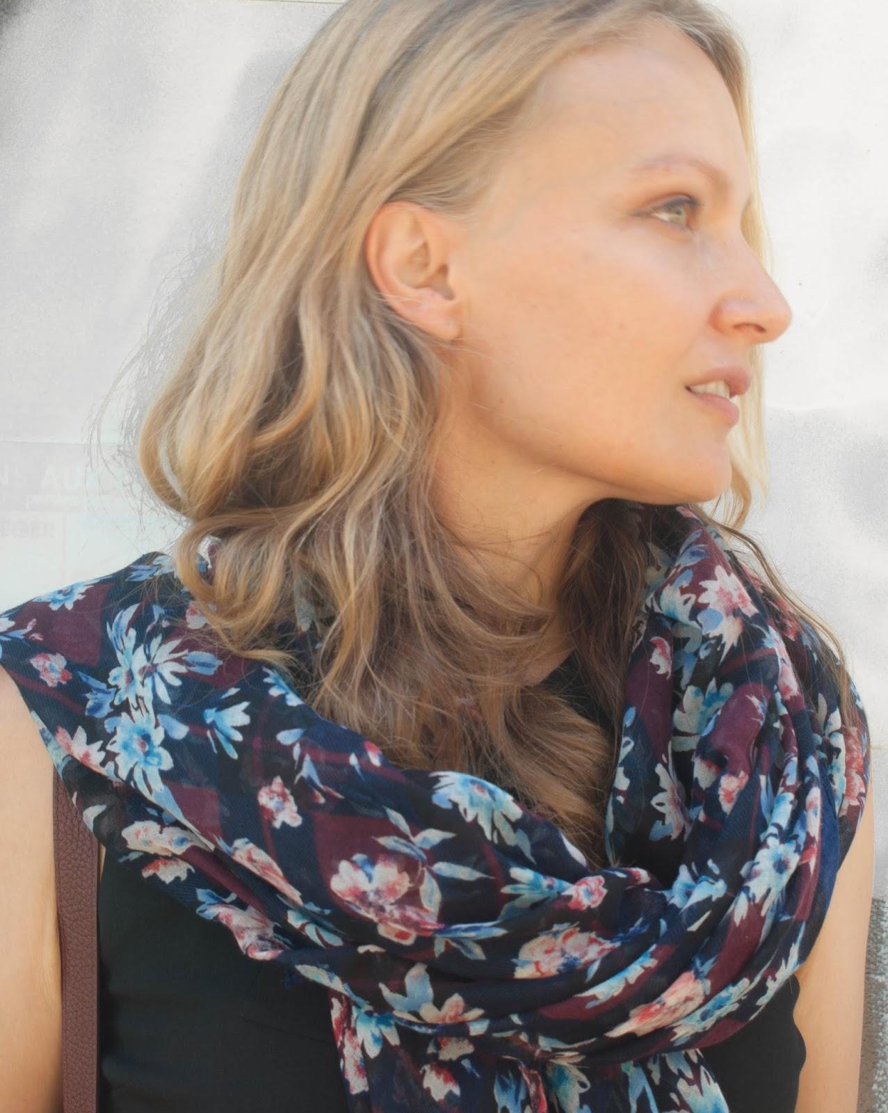Zara floral scarf, dark florals, Burgondy scarf,