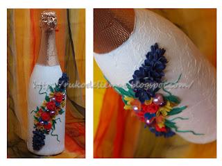 декор бутылок, свадебное шампанское