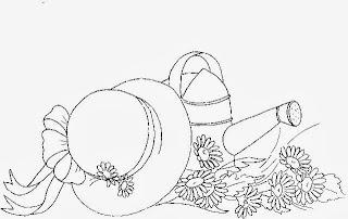 desenho de regador com margaridas e chapeu para pintar