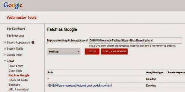 Fetch as Google - Cepat Indeks