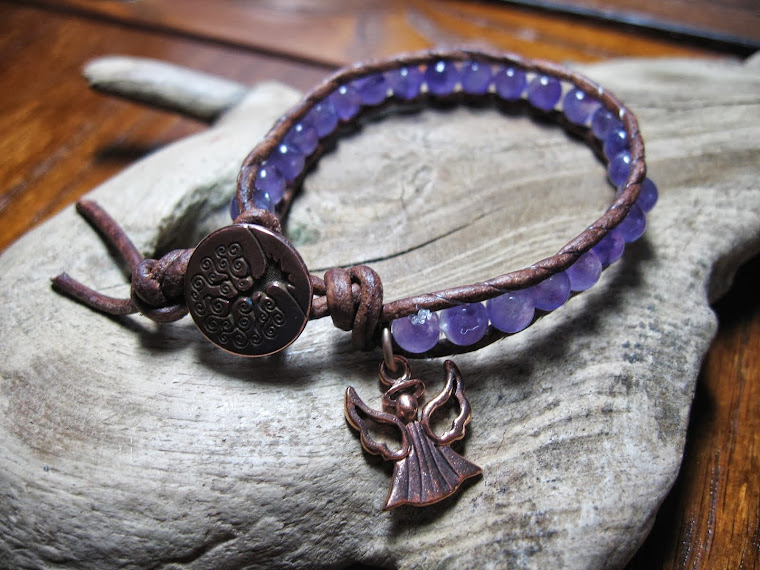 amethyst wrap bracelet with angel charm