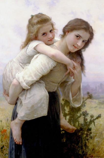 cute girls,genre painting, Bouguereau