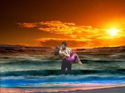 فارس الاحلام وفتاة الاحلام....نظرة على ارض الواقع - man and woman in love fantasy - woman--Sky--hot--fantasy--sunset