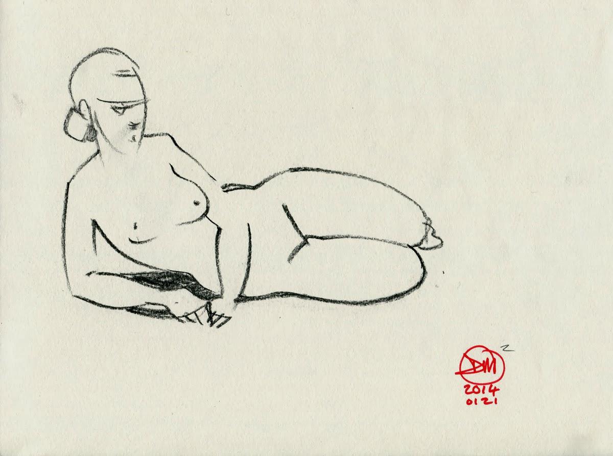 Sketch of female nude by David Meldrum