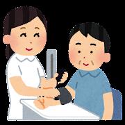 血圧を計る看護師さんのイラスト