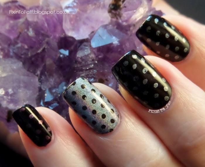 holographic polka dot nail art stamping