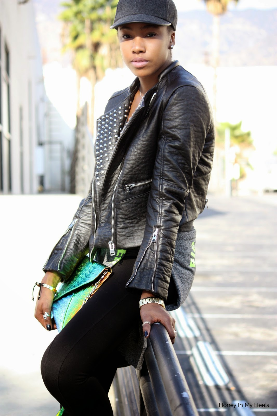Wearing H&M cropped faux leather jacket