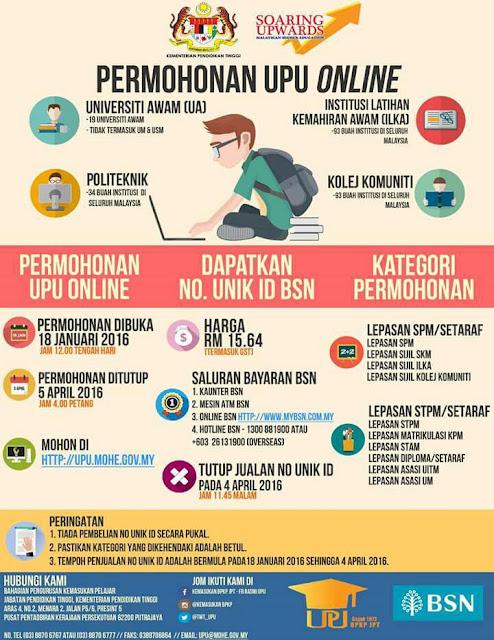 permohonan upu online, SPM, STPM