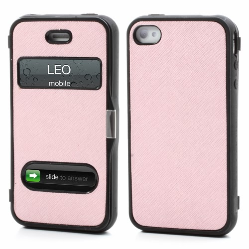 Cross Grain Texture Flip Cover TPU Case for iPhone 4 4S - Pink