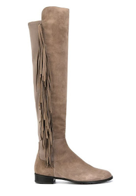 Stuart Weitzman Neutral fringed boots