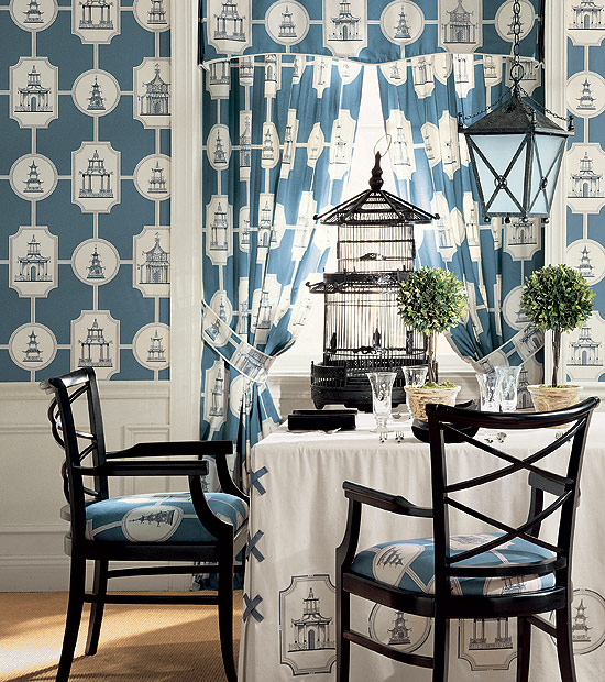 Chinoiserie chic thibaut pagoda wallpaper and fabric for High end designer wallpaper