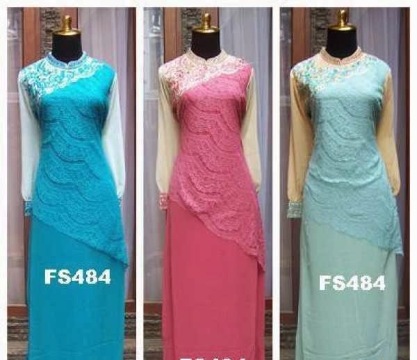 Azka Fashion Baju Gaun Gamis Dress Pesta Brokat Intan