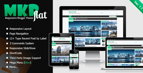 MKRflat v1.1 Responsive Magazine/News Premium Blogger/Blogspot Template