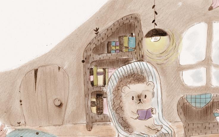 erizo, illustration, ilustración, infantil, cute, mono, leyendo, madriguera