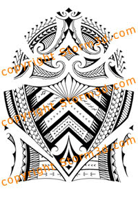 samoan inspired shoulder sleeve tattoo with moari designs