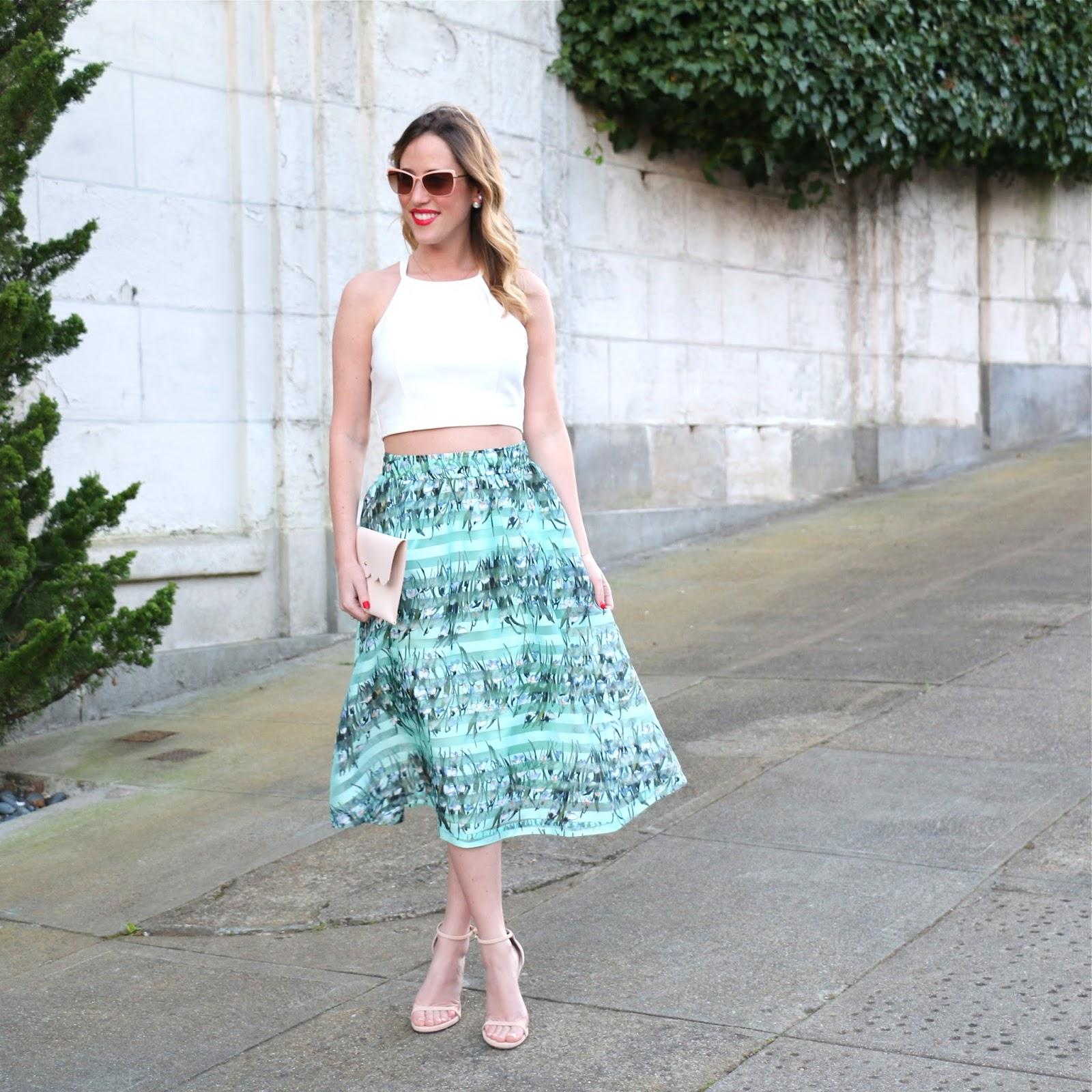 joa green floral midi skirt