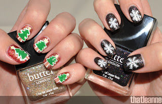 thatleanne simple holiday nail art ideas feat butter