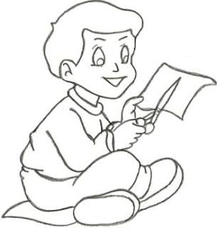 Dibujo de niño cortando papel para colorear pintar
