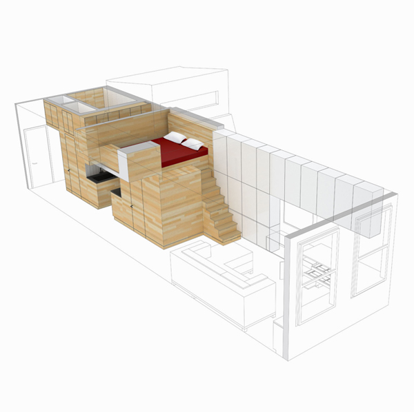 3D illustration of studio apartment