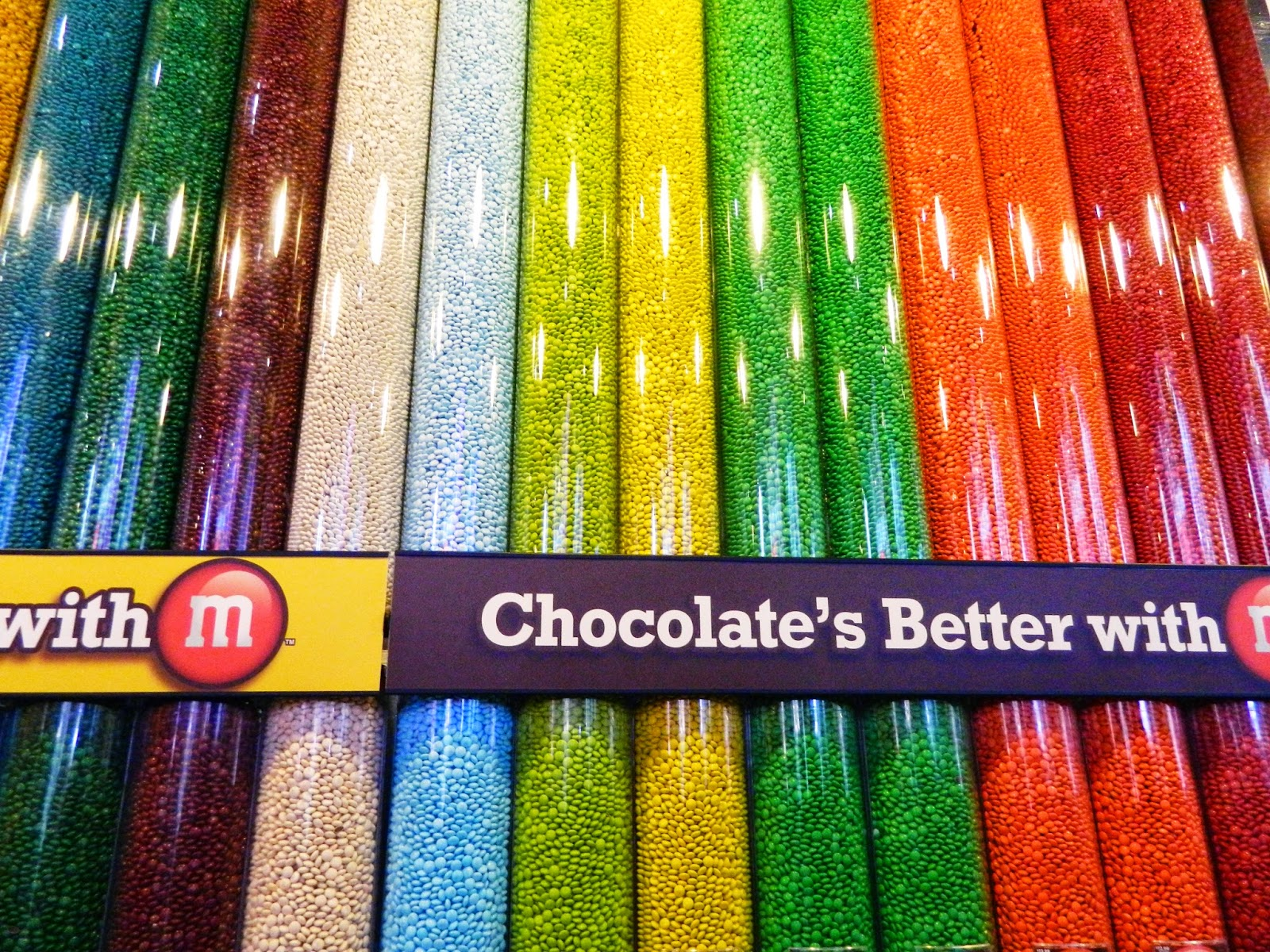 new york city m&ms world sweets chocolate colourful pick and mix bags times square shop