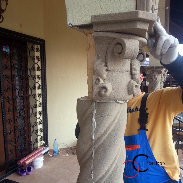 montare capitel coloana polistiren, prret manopera coloane brancovenesti, coloane spiralate