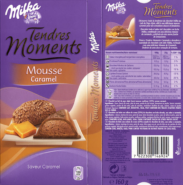 tablette de chocolat lait fourré milka tendres moments mousse caramel