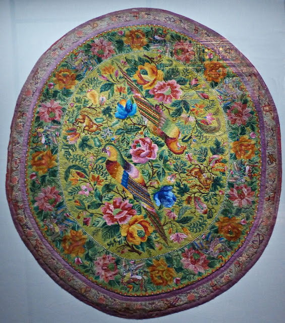 Oval beadwork tablecloth, Penang, early 20th century