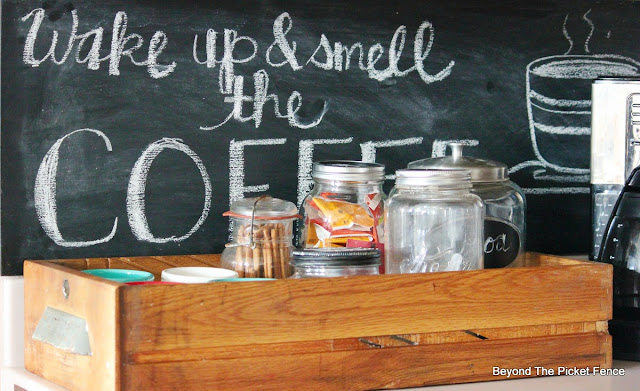 chalkboard, coffee sign, upcycled, repurposed drawer, coffee station, canning jars, http://bec4-beyondthepicketfence.blogspot.com/2015/10/coffee-station.html