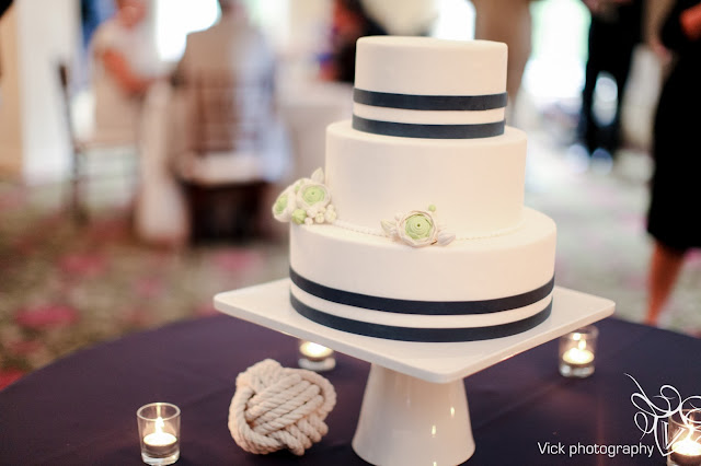 Nautical Cake with Navy Stripes - Minneapolis Wedding