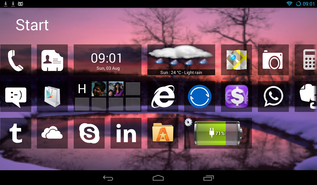 Preview Home 8+ like Windows8 Launcher | andromin