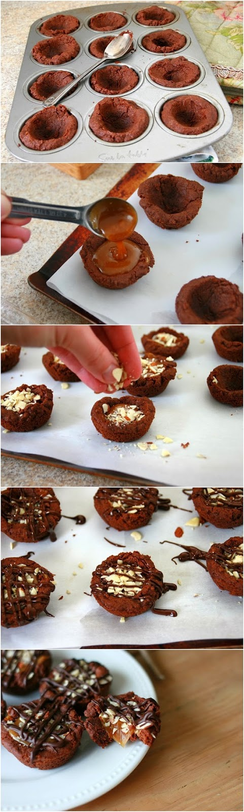 Salted Caramel Dark Chocolate Cookie Cups