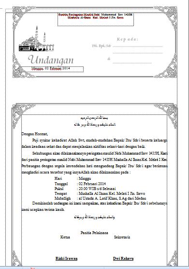 contoh surat keputusan panitia isra miraj   undangan rapat