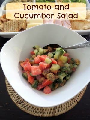 Tomato and Cucumber Salad:  A light and fresh salad of crisp cucumbers, juicy tomatoes, and crunchy pistachios tossed in a sweet creamy lemon dressing.