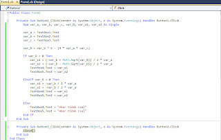 kode menghitung akar persamaan kuadrat VB 2010
