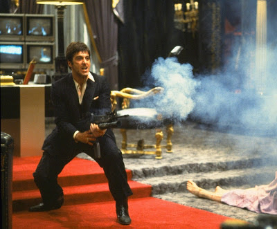 Al Pacino as Tony Montana, talk to my little friend, opens fire, bloody climax, Scarface, Directed by  Brian De Palma