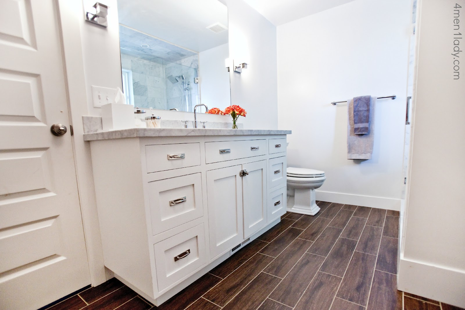 Bathroom tile wood look home decorating excellence for Hardwood floor in bathroom