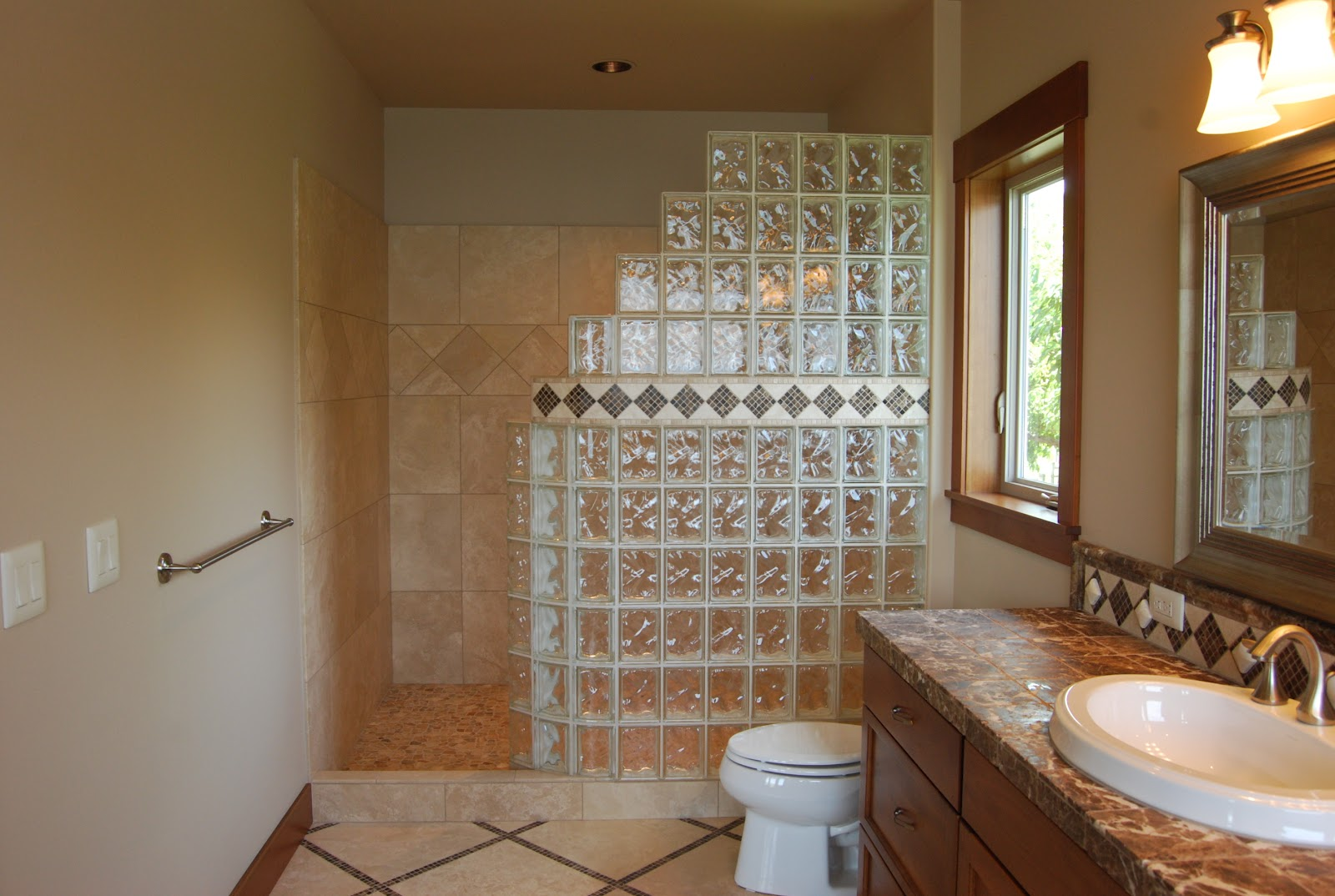 Seattle glass block glass block shower kits install in 4 for Bathroom design kit