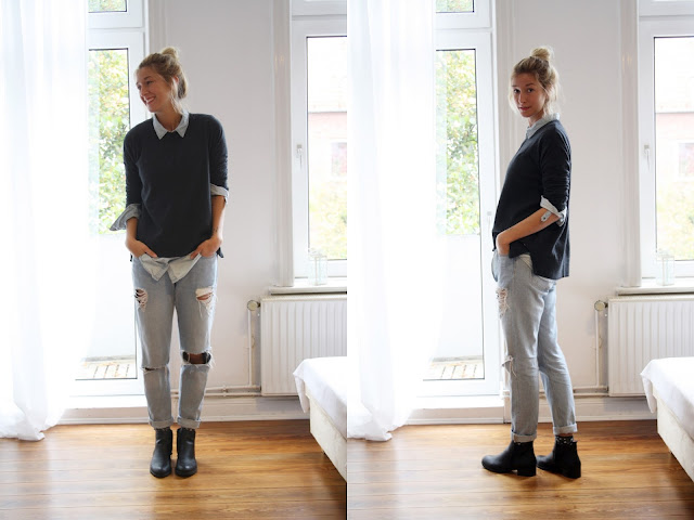 Boyfriendjeans und Pulli. Layerinlook. Fashionblog Kiel.