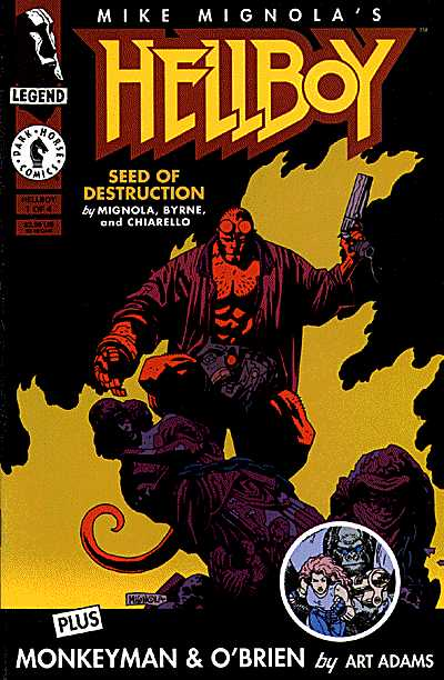 Portada del primer número de Hellboy: Seed of Destruction, publicado por Dark Horse Comics el 1 de marzo de 1994