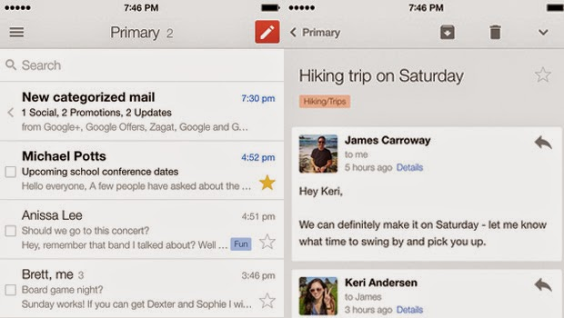 Gmail gets update for iPhone 6 and iPhone 6 Plus
