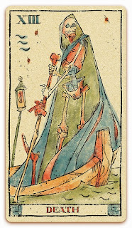 Death card - Colored illustration - In the spirit of the Marseille tarot - major arcana - design and illustration by Cesare Asaro - Curio & Co. (Curio and Co. OG - www.curioandco.com)