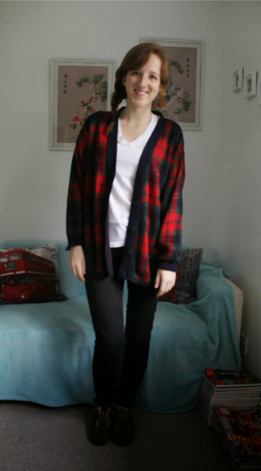 OOTD: Fluffy Coat and Tartan Cardigan