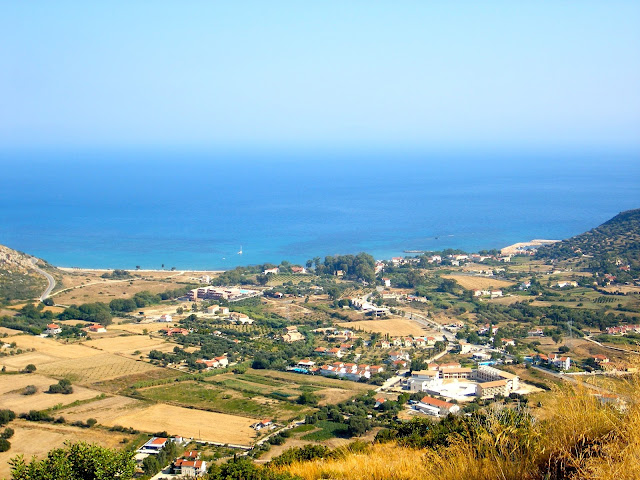 Coastal town by the ocean on the island of Kefalonia, Greece