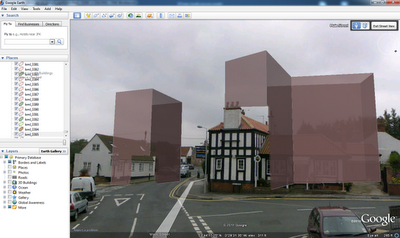 Extruded 3D Building (from Open Street Map) overlaid in Streetview in Google Earth