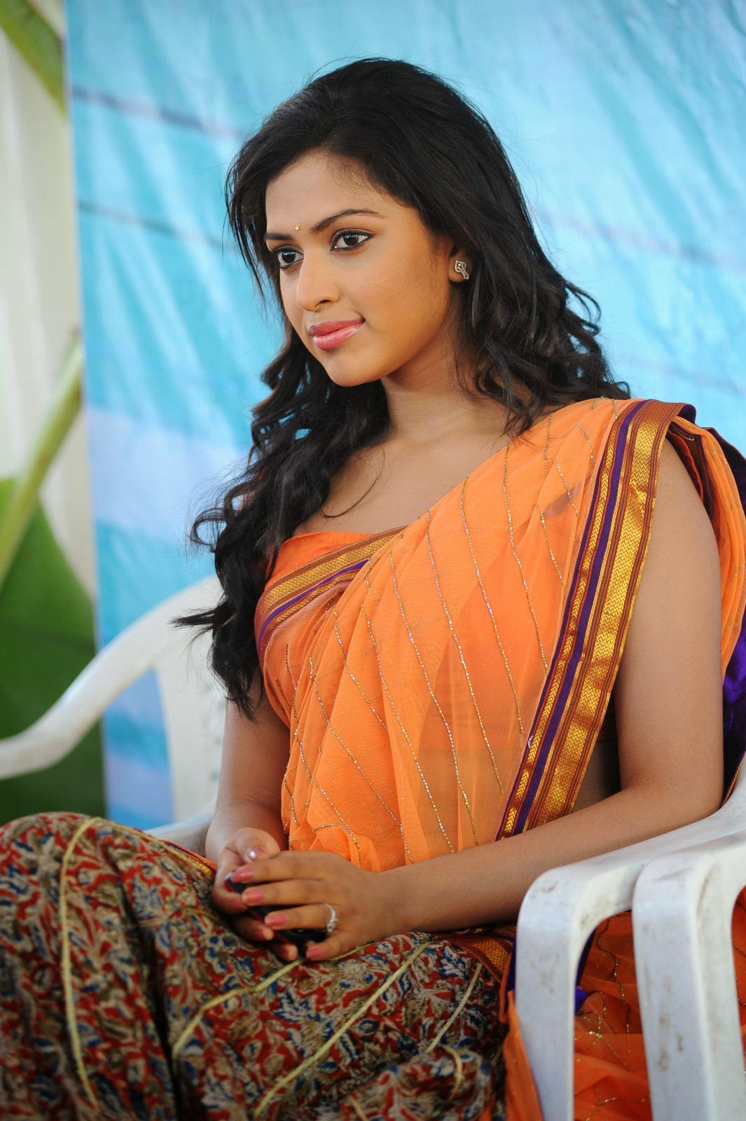 amala paul hot sizzling orange half saree amala paul