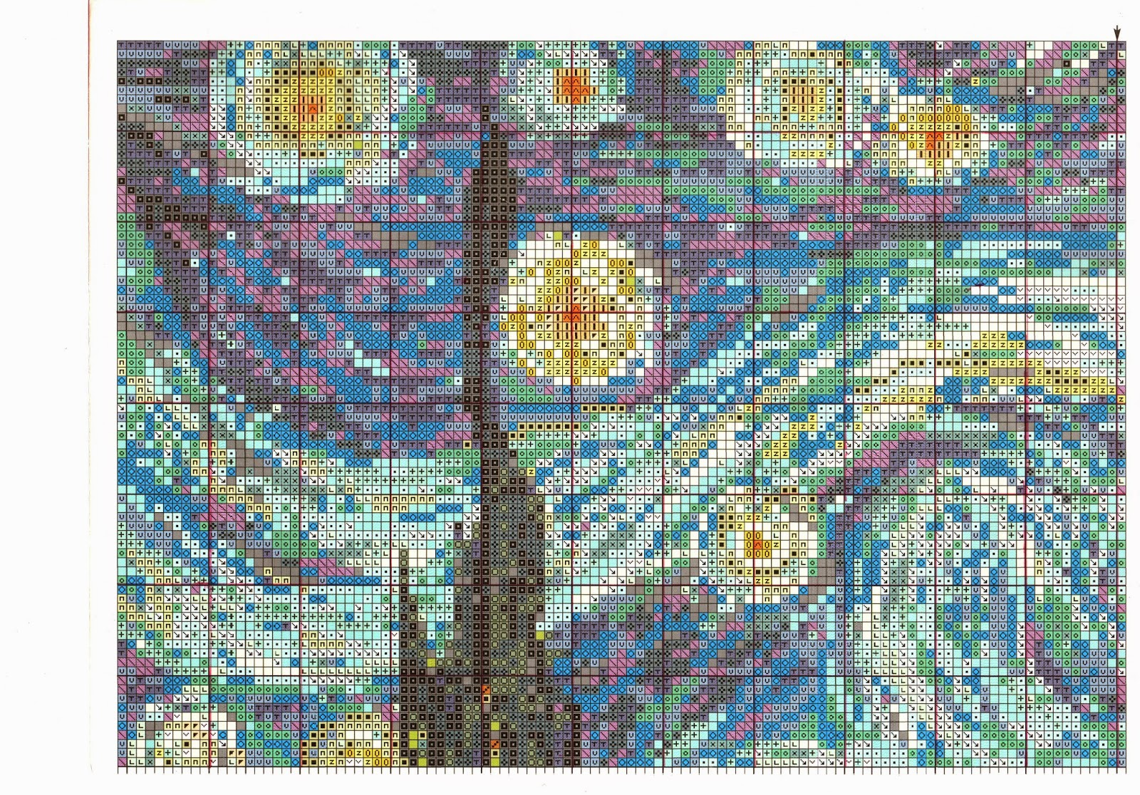 Ван гог звёздная ночь вышивка крестом 720
