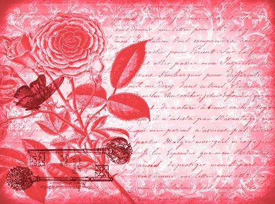 fondo vintage flores, mariposa y flores en tonos rojos