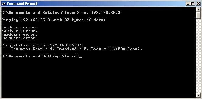 Command Prompt Hardware Error