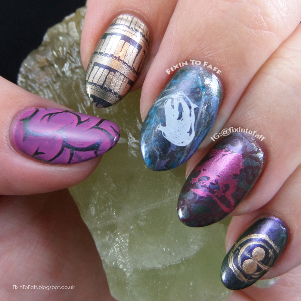 Nail art tribute to Hermione Granger, brains, books, vinewood and dragon heartstring wand, otter Patronus, and time turner.